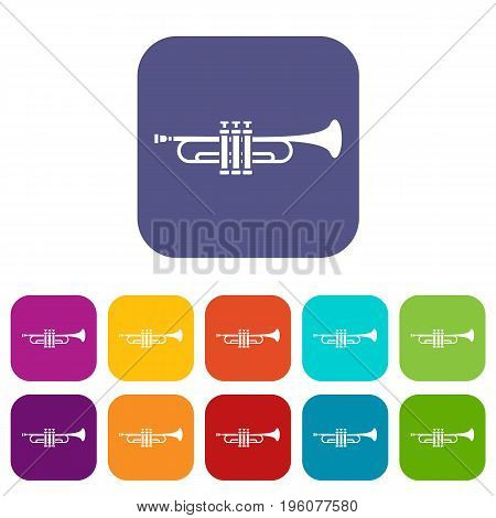 Brass trumpet icons set vector illustration in flat style in colors red, blue, green, and other