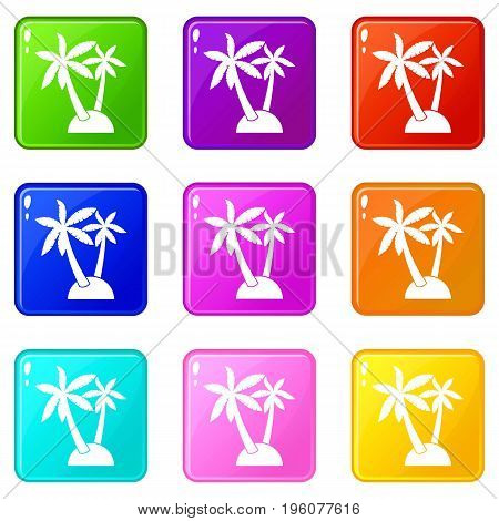 Palm trees icons of 9 color set isolated vector illustration
