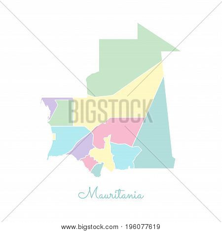 Mauritania Region Map: Colorful With White Outline. Detailed Map Of Mauritania Regions. Vector Illus