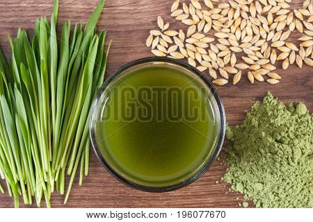 Barley Grass With Beverage And Grain With Young Powder Barley, Body Detox Concept