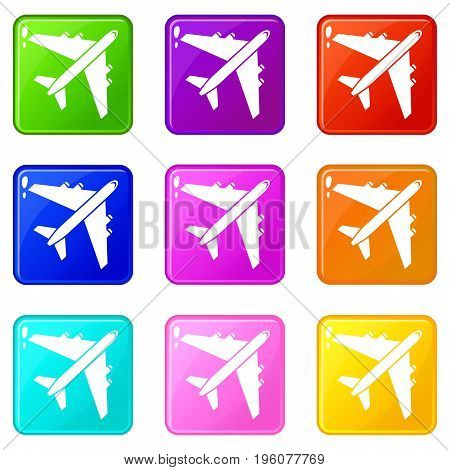 Passenger airliner icons of 9 color set isolated vector illustration