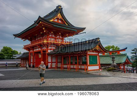 KYOTO JAPAN - NOVEMBER 24, 2016: Tourist visit famous shrine during autumn season on November 24, 2016 at Fushimi Inari in Kyoto, Japan.