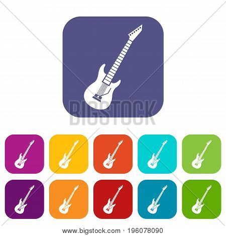Electric guitar icons set vector illustration in flat style in colors red, blue, green, and other