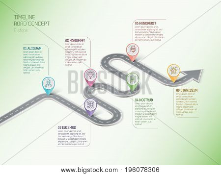 Isometric navigation map infographic 6 steps timeline concept. Winding road. Vector illustration.