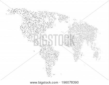 World map made of dots in perspective vector background. EPS10