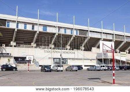 Cartagena Spain - May 28 2017: Cartagonova stadium in the city of Cartagena. Province of Murcia Cartagena Spain