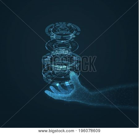 Shiny blue technology vector background with hand holding energy ball. EPS10