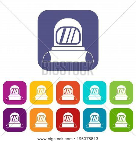 Astronaut icons set vector illustration in flat style in colors red, blue, green, and other