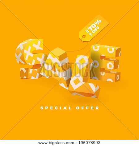 Sale banner in yellow color 3D letters with pattern vector illustration