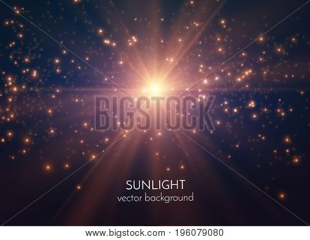 Sun light star burst with scattered shiny particles vector background. EPS10