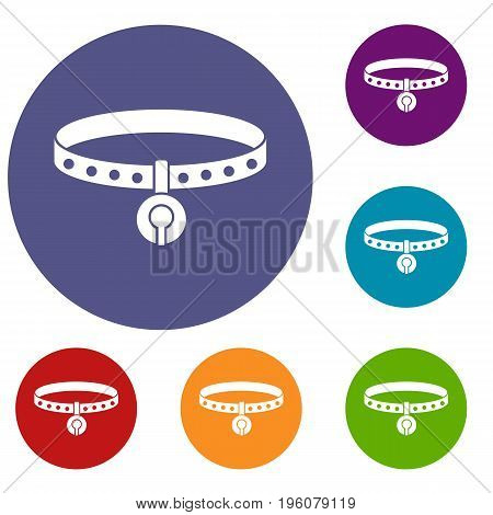 Cat collar icons set in flat circle red, blue and green color for web