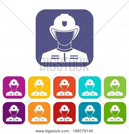 Firefighter icons set vector illustration in flat style in colors red, blue, green, and other