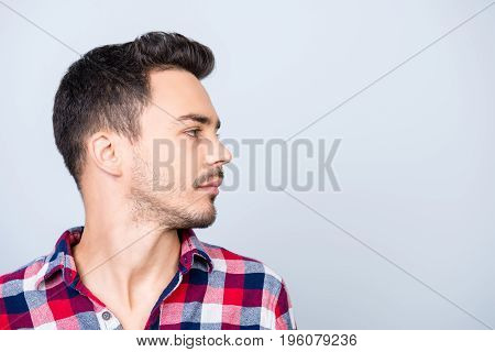 Profile Side Photo Of Young Hipster Brunet Guy, Standing In Casual Outfit On Pure Blue Background Ne