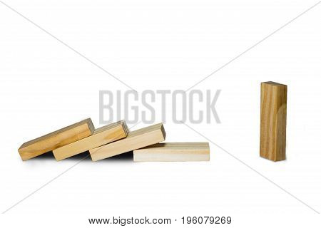 Wooden Block Standing And Outstanding Among The Collapse Of Fall In Line, Business Concept Able To S