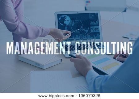 Concept of management consulting. People discussing business strategy in office, closeup