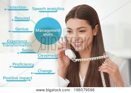 Diagram of MANAGEMENT SKILLS and woman talking by phone on background