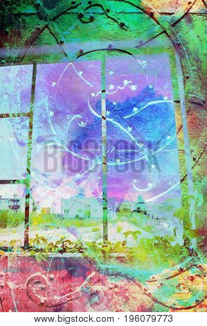 Abstract artistic background with blue gate and window