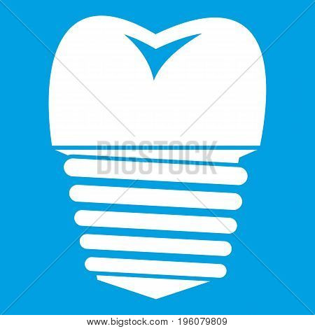 Tooth implant icon white isolated on blue background vector illustration