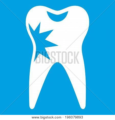 Cracked tooth icon white isolated on blue background vector illustration