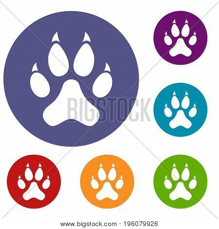 Cat paw icons set in flat circle red, blue and green color for web