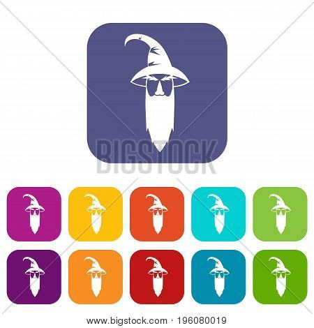 Wizard icons set vector illustration in flat style in colors red, blue, green, and other