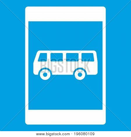Bus stop sign icon white isolated on blue background vector illustration
