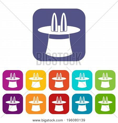 Rabbit ears appearing from a top magic hat icons set vector illustration in flat style in colors red, blue, green, and other