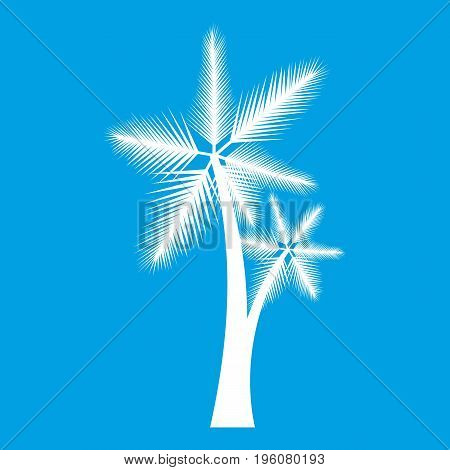 High palm tree icon white isolated on blue background vector illustration