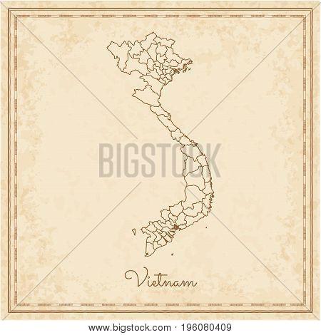 Vietnam Region Map: Stilyzed Old Pirate Parchment Imitation. Detailed Map Of Vietnam Regions. Vector