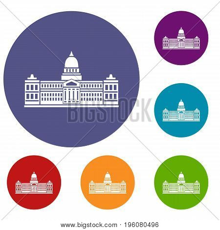Palace of Congress in Buenos Aires, Argentina icons set in flat circle red, blue and green color for web