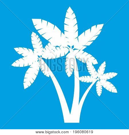 Three palm trees icon white isolated on blue background vector illustration