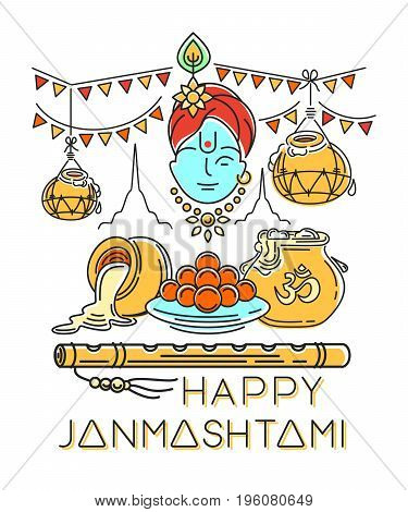 Happy Janmashtami. Annual Hindu celebration of the birth of Krishna. Hanging Dahi handi on Janmashtami background. Logo concept design. Vector illustration