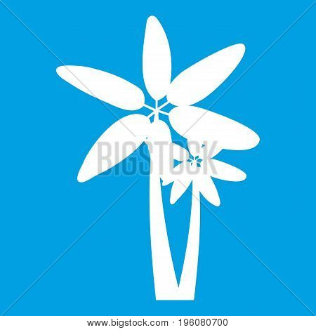 Two palm trees icon white isolated on blue background vector illustration
