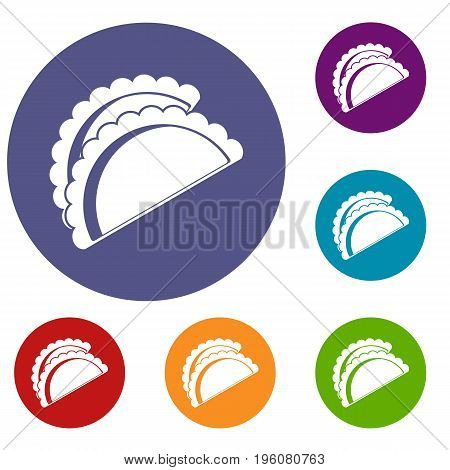 Empanadas de pollo icons set in flat circle red, blue and green color for web