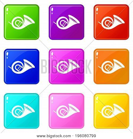 French horn icons of 9 color set isolated vector illustration