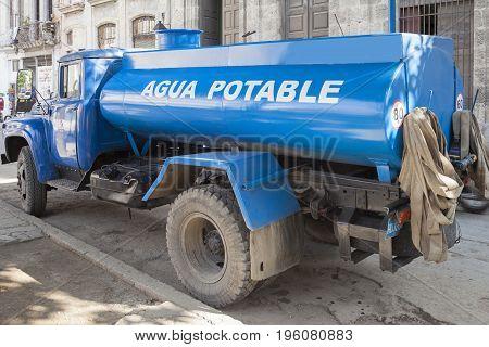 Trucks of drinking water Havana Cuba on the road