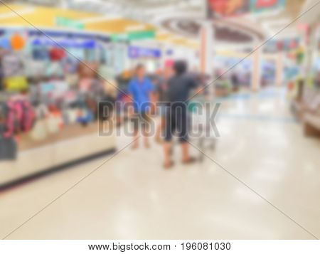 Abstract blur of shop at supermarket