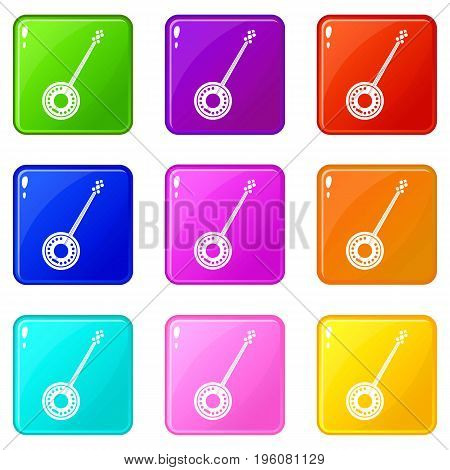 Banjo icons of 9 color set isolated vector illustration