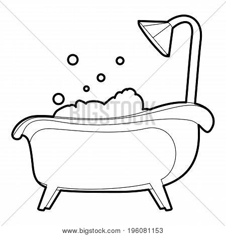 Bath icon in outline style isolated on white vector illustration
