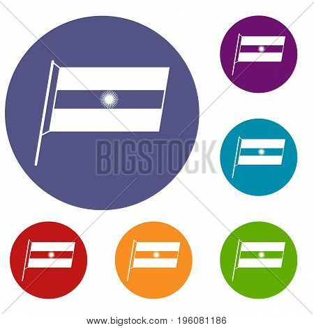 Flag of Argentina icons set in flat circle red, blue and green color for web