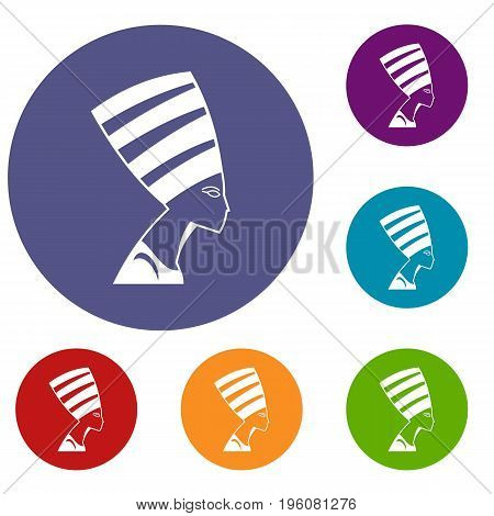 The head of the Egyptian queen icons set in flat circle red, blue and green color for web
