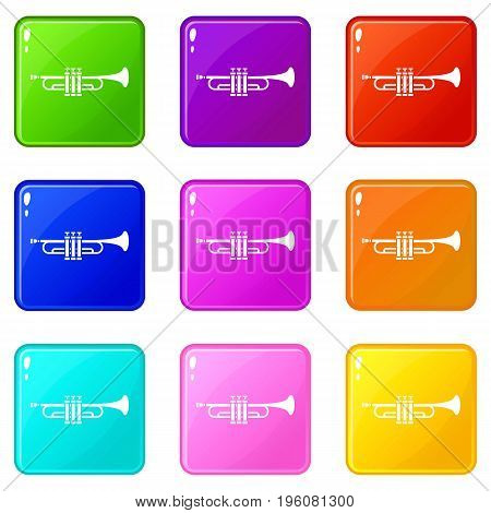 Brass trumpet icons of 9 color set isolated vector illustration