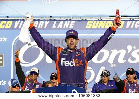 July 16, 2017 - Loudon, NH, USA: Denny Hamlin (11)  wins the Overton's 301 at New Hampshire Motor Speedway in Loudon, NH.
