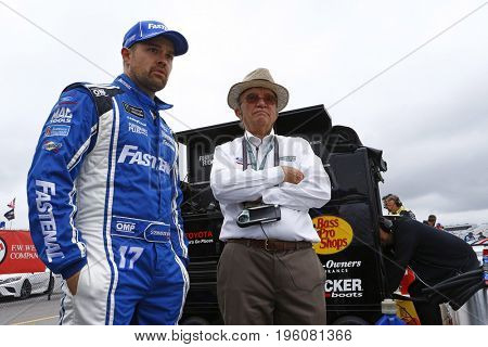 July 14, 2017 - Loudon, NH, USA: Ricky Stenhouse Jr. (17) and Jack Roush hangs out on pit road prior to qualifying for the Overton's 301 at New Hampshire Motor Speedway in Loudon, NH.