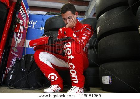 July 14, 2017 - Loudon, NH, USA: Kyle Larson (42) hangs out in the garage during practice for the Overton's 301 at New Hampshire Motor Speedway in Loudon, NH.