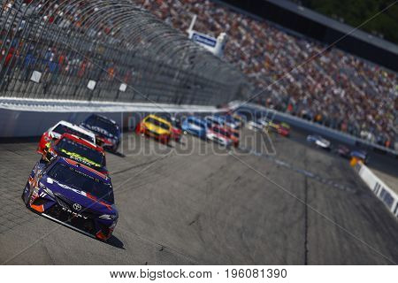 July 16, 2017 - Loudon, NH, USA: Denny Hamlin (11)  brings his race car down the front stretch during the Overton's 301 at New Hampshire Motor Speedway in Loudon, NH.