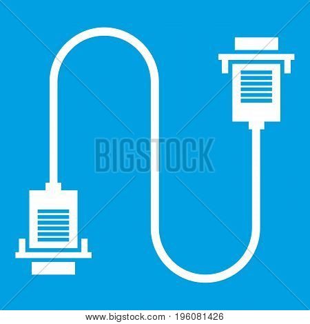 Cable wire computer icon white isolated on blue background vector illustration