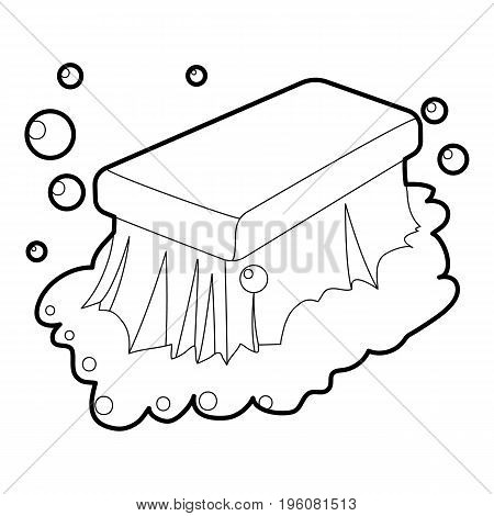 Wet cleaning icon in outline style isolated on white vector illustration