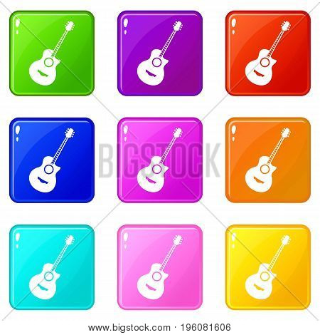 Classical guitar icons of 9 color set isolated vector illustration