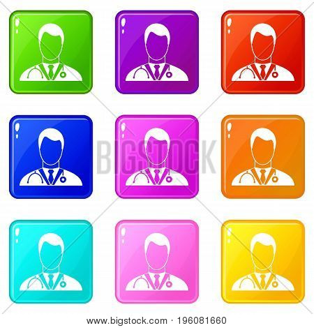 Doctor icons of 9 color set isolated vector illustration
